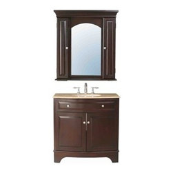 "Stufurhome - Stufurhome 36"" Amanda Single Sink Vanity with Travertine Marble Top and Mirror - - Stufurhome has the perfect bathroom vanity for your remodel at a perfect price. Stufurhome's vanities are pieces of finely made furniture detailed with rich color, charming woodwork, and ample storage space. Stylish, tasteful and practical, Stufurhome.The Amanda Single Sink Vanity is stylish, useful and compact. It has the looks to die for and can adapt in any kind of home and decor. FeaturesAlluring modern sink with dark cherry red polish and two door large storageContemporary vanity single sinkMirror included3 pre drilled faucet holesCabinet is supported by two broad legs on both sidesHuge cutout back for plumbing installationInteresting wall mounted mirror with two covered cabinets and an open rackShining semi circular knobs on the doorsTwo door cabinet with shelf for storage*Faucet sold separately Ivory white undermount sink36""W x 22""D x 36""HStufurhome 1 Year Limited-WarrantyHow to handle your counterView Spec Sheet Natural stone like marble and granite, while otherwise durable, are vulnerable to staining from hair dye, ink, tea, coffee, oily materials such as hand cream or milk, and can be etched by acidic substances such as alcohol and soft drinks. Please protect your countertop and/or sink by avoiding contact with these substances. For more information, please review our ""Marble & Granite Care"" guide."