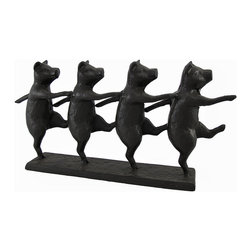 Cast Iron Dancing Pigs Statue - This cast iron statue is a great addition to the homes of pig collectors. It measures 14 1/2 inches long, 7 inches tall, 3 inches wide, and features 4 pigs dancing or marching in a row. This piece is suitable for indoor or outdoor use, and is heavy enough to use as a door stop.