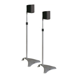 Atlantic Inc - Atlantic Inc Satellite Speaker Stands Adjustable Height in Titanium - Atlantic Inc - Speaker Stands - SPSCUR47 - Atlantic Inc. SPSCUR47 Universal speaker stands. Heavy duty iron cast construction provides durability and stability. Adjustable height to ensure perfect and customized sound. Two sizes of mounting brackets and double-tape ensure correct installation.