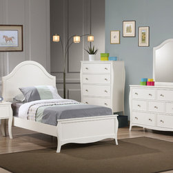 Coaster - Dominique 5Pc Twin Bed Set, White - This beautiful twin bed set creates a gorgeous focal point. Classic details like flared posts, simple curved molding and silver metal knobs add to the timeless style for a sophisticated and inviting youthful bedroom suite. Matching desk available to accommodate your dedicated student. This collection has a look to create a soothing getaway in your child's bedroom they will truly love.