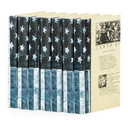 "Go Home Ltd - Linear Foot of US Flag Denim Vintage Books by Go Home - Redesigned covers and bindings earn ""the eye-catching award"". The stars and stripes take on a new look with bindings designed with a denim quality. Patriotic accents are always voguish. The covers, interiors and dimensions are random, therefore the quantity of books in a set is dependent upon their widths. (GH) display 12"" wide x 8"" - 9.5"" high x 5.75"" - 6"" deep"