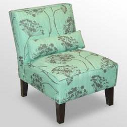 Lace Aqua Armless Chair - Style and comfort make the Lace Aqua Armless Chair a perfect accent to any living space. This cozy chair features a thick padded seat and soft upholstery in grey and mint green. An included pillow provides a charming accent and a way to get even more comfy. Espresso-finished legs are squared and tapered a perfect complement to the distinctive lines of this chair. About Skyline Furniture Manufacturing Inc.Skyline Furniture was founded in 1948 with the goal of producing stylish affordable quality furniture for the home. After more than 50 years this family-run business is still designing and manufacturing unique products that meet the ever-changing demands of the modern home furnishing industry. Located in the south suburbs of Chicago the company produces a wide variety of innovative products for the home including chairs headboards benches and coffee tables.