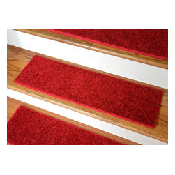 Dean Flooring Company - Dean Non-Slip, Pet Friendly, Carpet Stair Treads - Fire Engine Red (15) - Quality stylish ultra premium stair gripper non-slip carpet stair treads by Dean Flooring Company. Extend the life of your high traffic hardwood stairs. Reduce slips/increase traction. Cut down on track-in dirt. Great for pets and pet owners. Made in the USA from quality, long lasting stain resistant carpeting with non-slip padded foam backing. Stands up great to high traffic. A fresh new look for your staircase. Do-it-yourself installation is quick and easy with our unique non-slip backing. Simply place your stair tread rugs on your staircase and go. No tapes, adhesives, staples, glue, or Velcro needed. And rest assured, they won't move and they won't damage your hardwood either. They are also simple and easy to remove as well with no sticky residue left behind. Each tread is bound with color matching binding tape. No bulky fastening strips. You may remove your treads for cleaning and re-attach them when you are done. Add a touch of warmth and style to your stairs today with new stair treads from Dean Flooring Company! We make our own stair treads at Dean Flooring Company and our products are not available from anyone else.