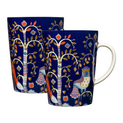 iittala Taika Mug 16 oz  Set of Two Blue - Iittala Taika is part of the whimsical Taika series, illustrated by Klaus Haapaniemi for Iittala in 2007. Available in white, blue and black the design draws upon folklore for a fanciful design that is visually stunning. Taika means 'magic' in Finnish and the classic forms designed by Heikki Orvola combine well with other Iittala collections, brings a playful magic to your table.