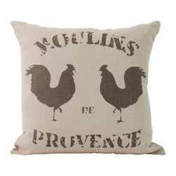 "Zentique - ""Moulins Provence"" Roosters Pillow - Cock-a-doodle-doo times two! This antique, linen French-country-inspired pillow sports two roosters and Provençal mill insignia. Rassle one up for your wrap-around porch or rustic high rise and greet the morning with the two cocks and a cup of coffee!"