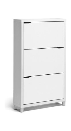 Baxton Studio - Baxton Studio Simms White Modern Shoe Cabinet - Stash your shoes stylishly in our Simms Shoe Cabinet.  This modern shoe storage solution was designed with a low profile, svelte size as to fit neatly against a wall in a hallway, mud room, or entryway.  Three storage compartments each fit six pairs of shoes comfortably for a total of approximately eighteen shoe slots, which varies depending upon your shoes' sizes. The unit is made in Malaysia with an engineered wood frame, white paper veneer finish, plastic door supports, and silver plastic legs. The Simms Shoe Cabinet requires assembly and should be dry dusted. Other sizes and colors are also offered (sold separately). Dimensions: 52.6 inches high x 31.2 inches wide x 9.1 inches deep.