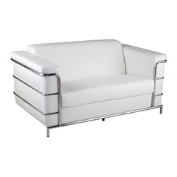 Euro Style - Leonardo Leather Loveseat - White Leather/Chrome - This is a very space efficient workstation. Epoxy coated steel in either a graphite/smoked look or in bright aluminum and frosted glass the L desk has room for all the necessities and all the niceties that make it comfortable, functional and space saving.
