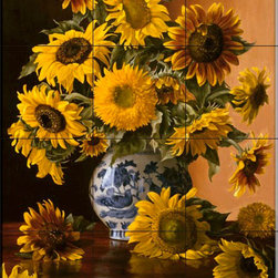 The Tile Mural Store (USA) - Tile Mural - Sunflowers In Blue Willow Vase - Kitchen Backsplash Ideas - This beautiful artwork by Christopher Pierce has been digitally reproduced for tiles and depicts a vase with colorful flowers.  With our enormous selection of tile murals of plants and flowers you can bring your kitchen backsplash tile project to life. A decorative tile mural with plants and flowers is an impressive kitchen backsplash idea and decorative flower tiles also work great in the bathroom. Add splashes of color and life to your tile project with images of flowers on tiles and tiles with pictures of plants.