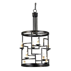 Currey & Company Spyro Foyer Lantern - This funky take on the traditional lantern is a great conversation piece. The geometric detail reminds me of a maze. It could work in the most modern of rooms or entryways.