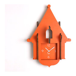 WOLF - Wooden Jigsaw Cuckoo Clock, Orange - Easy to assemble from flat pieces (no tools required), this wooden clock features a charming cuckoo bird that juts from the wall like a pop-up book.