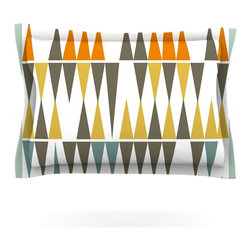 """Kess InHouse - Pellerina Design """"Diamond Kilim"""" Triangles Pillow Sham (Cotton, 40"""" x 20"""") - Pairing your already chic duvet cover with playful pillow shams is the perfect way to tie your bedroom together. There are endless possibilities to feed your artistic palette with these imaginative pillow shams. It will looks so elegant you won't want ruin the masterpiece you have created when you go to bed. Not only are these pillow shams nice to look at they are also made from a high quality cotton blend. They are so soft that they will elevate your sleep up to level that is beyond Cloud 9. We always print our goods with the highest quality printing process in order to maintain the integrity of the art that you are adeptly displaying. This means that you won't have to worry about your art fading or your sham loosing it's freshness."""