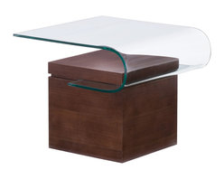 Zuo - Mystic Side Table - The Mystic Side Table combines creativity and sophistication into a functional work of art for your living room. Enjoy a rare fusion of sleek surfaces that are both practical and beautiful. A cantilevered bent glass top folds into a thick slab of walnut finished natural wood, creating a shelf space perfect for displaying your favorite magazines or choice accessories. Enjoy the warmth of natural wood combined with the contemporary feel of sleek tempered glass. Let the amply scaled Mystic Side Table serve as an unforgettable accent to your modern or transitional seating arrangement. The Mystic collection also features a coffee table and console table.