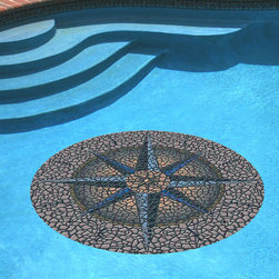 """Frontgate - Compass Pool Mat - 59"""" dia. - Brightly colored, realistic 3D mosaic appearance. UV ray and pool chemical-resistant. Durable and long lasting. Must be used on a flat, smooth surface. Resists curling, warping, underwater shifting and sliding. Beautiful yet durable, this artistic mat adds a timeless look to your pool with it's tiled mosaic design. Cleverly engineered with a heavier vinyl than others, it uses gravity and water pressure to stay in place. This means it can be easily removed, and doesn't require the use of messy adhesives. Simply place it on the pool water's surface, let it sink to the bottom then flatten as necessary. Peel off for removal. For routine pool cleaning, it doesn't need to be moved.  .  .  .  .  . 100% USA-made ."""