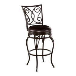 SEI - Hanover Swivel Bar Stool - Improve your home with stylish convenience. The elegant scrollwork and curved legs of this bar stool create a refined, contemporary look. A powder-coated, hammered bronze finish and durable steel frame deliver lasting quality. It features bar height seating, a cozy foam seat covered in rich dark brown vinyl, and a scrolled backrest. A full 360 degree swivel and footrest ring provide comfort and ease. The curvaceous form and attractive finish coordinate with traditional to contemporary decor styles. Ideal for the kitchen, breakfast nook, bar, or dining area.