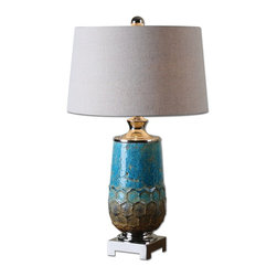 Manzu Blue Ceramic Table Lamp - *Distressed Metallic Blue Ceramic With Rust Brown Accents And Polished Nickel Plated Details