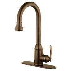 Belle Foret Single-Handle Pull-Down Sprayer Kitchen Faucet in Tumbled Bronze wit
