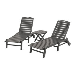 Polywood - 3-Piece Eco-friendly Chaise Set in Gray - Solid, heavy-duty construction withstands natures elements . Whether you need a little escape in the middle of the day or want to spend a carefree afternoon doing absolutely nothing, the Polywood Nautical 3-Piece Chaise Set provides easy access to total relaxation. This set is built to last and look good for years with very little maintenance.
