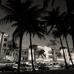 The Andy Moine Company LLC - Art Deco Buildings Miami Beach Florida Fine Art Black and White Photography, 12x - Black and White Fine Art Photography captured with 35MM Ilford Film and reproduced in Limited Editions on Brushed Aluminum. This is a beautiful Nightlife composition of the historical Art Deco buildings and Neon lighting along Ocean Drive in South Beach, Miami - Florida.