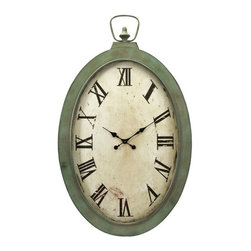 "IMAX - Noran Oversized Wall Clock - A pocket watch fit for a giant, the Noran Oversized Wall Clock, with its warm patina, Roman numerals and classic spade hands will create the perfect vintage look. Item Dimensions: (41""h x 26.25""w x 3.75"")"