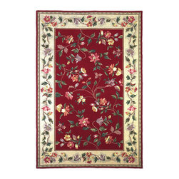"""Kas - Floral Vine Crimson Ivory Colonial Floral 7'9"""" x 9'9"""" Oval Kas Rug  by RugLots - Our Colonial Collection of hooked wool rugs exhibits the true creativity of our designers. Originally a craft born out of necessity, hooked rugs have now become a form of art, taking shape with the talent of designers and weavers. Made in China, our petit point hooked rug collection contains an assortment of styles that suit a wide range of tastes. Our Colonial rugs come in both classic and trendy designs, including florals and nauticals. The intricate design and myriad of colors add both a lively and rich look."""
