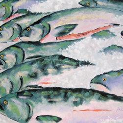 Roweboat Art Inc - Fish Market, Fine Art Reproduction, 24X18 - Original art reproduction