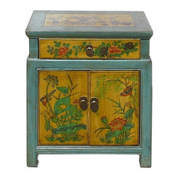 Golden Lotus - Chinese Blue & Yellow End Table w Flower Birds Graphic - This is a side table / nightstand with rustic vintage pastel blue yellow lacquer finish. A colorful scenery of Asian flowers & birds scenery is drawn on the door, drawer and top. Bird and flower position is different for each table.