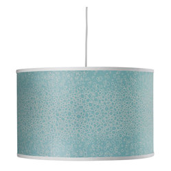 Oilo - Raindrops Large Cylinder, Aqua - This playful take on the classic drum shade is a great way to add style and color to a room. The fixture comes with a 55-inch white cord to adjust for length, as well as a white acrylic sheet to soften its illumination. Wherever you hang this shade, it will surely cast a flattering light.