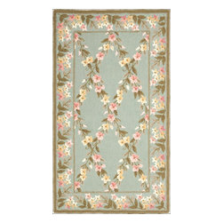 """Safavieh - Avery Hand Hooked Rug, Teal / Olive 2'6"""" X 4'3"""" - Construction Method: Hand Hooked. Country of Origin: China. Care Instructions: Vacuum Regularly To Prevent Dust And Crumbs From Settling Into The Roots Of The Fibers. Avoid Direct And Continuous Exposure To Sunlight. Use Rug Protectors Under The Legs Of Heavy Furniture To Avoid Flattening Piles. Do Not Pull Loose Ends; Clip Them With Scissors To Remove. Turn Carpet Occasionally To Equalize Wear. Remove Spills Immediately. Wilton collection, a line of coordinated rugs and broadloom that re-creates classic Wilton patterns in a proprietary hand-hooked construction."""