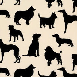 Madison Humphrey Dog Flocked Velvet Wallpaper - European Import Silhouettes of our favorite dogs, Humphrey and Madison in pure flock velvet wallpaper.