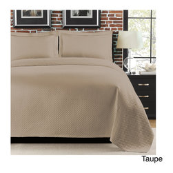 None - Diamante 3-piece Coverlet Set - Matelasse with all over diamond pattern and an exquisite Quapunto finished hem instills timeless tradition in this coverlet set. Enticing warmth and restful comfort in the set brings a great accent and simple elegance to the home.