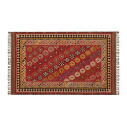 Ferada Kilim Rug - I like the fringe on this kilim rug. And the pattern and colors look nice in the diagonal fashion.