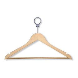 24-Pack Maple Hotel Suit Hangers - Honey-Can-Do HNG-01733 24-Pack Wood Suit Hotel Hanger, Maple Finish. Beautiful, wooden clothes hanger has a contemporary design perfect for keeping shirts, dresses, and jackets wrinkle-free. Hotel style circular bar hook stays put when installed on any standard closet bar. These hangers also work great on rolling garment racks, keeping hangers and clothes in place. When needed, hangers easily detach from the circular hook. A gorgeous upgrade for any closet space.