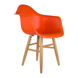 """Shaker Arm Chair in Orange - Some designs were ahead of their time. Considered the chair of tomorrow in both its design and in the way it was first manufactured in a single mold, the Shaker Arm Chair is inspired by one of the most iconic mid-century furniture designs. Created in the spirit of economy and affordability, its unique shape was designed to spread the sitter's weight and pressure evenly. The deep seat and waterfall edge provide additional comfort as the design shapes itself around the body's curves, while its classic wooden base adds stability and a more traditional note. If you've done away with formality in your home, the Shaker Arm Chair is that one piece of furniture that exemplifies the """"less is more"""" ethos. It's the ultimate seat that goes well in a variety of different settings: as a home office chair, an entryway slipper seat, or that one statement piece in the living room."""