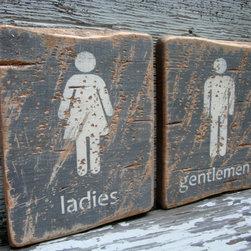 Ladies and Gentlemen Restroom Rustic Distressed Signs -
