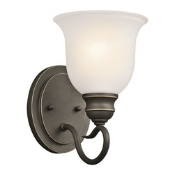 Kichler Lighting - Kichler Lighting 45901OZ Tanglewood Transitional Wall Sconce - This elegant transitional wall sconce is perfect for hallways or foyers. The simple scroll design features traditional styling with a upward glass shade. The soft white shade gives off a warm glow that is certain to bring a charming feel to any space in your home. This light is an affordable way to light up long hallways or to add an extra decorative element to any room.