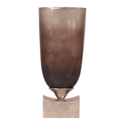 Howard Elliott - Howard Elliott Pearlized Antique Glass with Rustic Metal Base Vase - Tall - Tall pearlized antique glass with rustic metal base vase