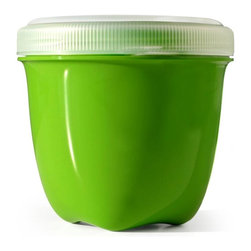 Round Food Storage Container | Mini - Preserve food storage containers are made in the USA from 100% BPA free, recycled #5 plastic, dishwasher safe and stand up to everyday use. The Preserve Mini Food Storage holds 8 oz. and is a friendly addition to any refrigerator or lunchbox. Our containers have innovative lids which screw on tightly to keep food fresh. They also nest for easy storage.