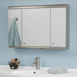 "Cosmopolitan Stainless Steel Tri-View Medicine Cabinet with Mirror - 32"" - The 32"" Cosmopolitan Stainless Steel Medicine Cabinet features multiple shelving nooks, providing plenty of storage space for your bathroom items. Stainless steel construction adds a contemporary touch and ensures years of use."