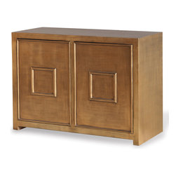 Kathy Kuo Home - Park Avenue Hollywood Regency Style Gold Leaf Cabinet - Burnished gold leaf is reflected on the Avenue Cabinet. Adjustable single interior shelf adds additional storage and allows flexibility behind the raised panel doors.
