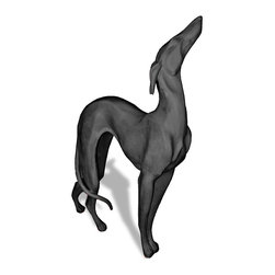 Amedeo Design, LLC - USA - Greyhound Statue - Standing - Our Art Deco Greyhound is beautifully stylized and crafted and can be statement pieces inside or out. Though they look like ancient European & Mediterranean designs in carved stone, our products are made of lightweight weatherproof ResinStone. So authentic, you actually have to lift them to convince yourself they're not stone at all! Made in USA.