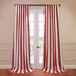 Half Price Drapes - Cabana Orange 50 x 120-Inch Printed Curtain - - Our Printed Cotton Curtains & Drapes provide a casual feel to any window. Choose from a wide range of patterns to suit any decorative style. These drapes & curtains are tailored from the finest 100% Cotton. Great attention is given to each step of the production process. They are finished with a weighted hem and shade-enhancing lining  - Single Panel  - Weighted  - Pole Pocket  - Cleaning/Care: Dry Clean Half Price Drapes - PRTW-D31-120
