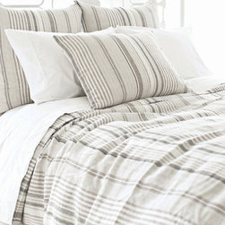 Pine Cone Hill - gradation linen duvet cover - Chambray, gray and ochre tones combine with soft textures and subtle stripes to hallmark seabold retreat collection.  Choose from classic decorative pillows, cotton bed sheets, duvet covers and more to set the foundation for a calm, relaxing bedroom.