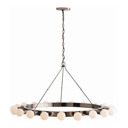 """Arteriors - Gates Chandelier, Brown Nickel - A simple lacquered horizontal ring held aloft by small chain links that make it appear to float. 21 3"""" frosted globe bulbs provide the light and drama. This piece is the perfect candidate for large circular staircases.  This product is appropriate for an interior or exterior location that is subject to condensation or moisture such as a bathroom, indoor pool, or covered patio.  Adjustable height: 21 1/2 - 33"""" h"""
