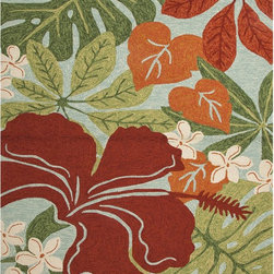 None - Floral Red/ Orange Indoor/ Outdoor Rug (7'6 x 9'6) - Navigate towards a fresh new approach with this indoor-outdoor rug from Jaipur's cheerful Coastal Living� Collection. This bold rug takes its styling cues from the ruggedly chic aesthetic of a casual seaside lifestyle.