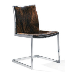Advanced Interior Designs - Cowhide Lunar Chair, Dark Cowhide - Our Cowhide Lunar chairs are phenomenal; it's such a great mix of sleek chrome and natural cowhide. The Chair features a gorgeous cantilever metal frame and cowhide upholstered seat and back. Its softly padded seat and backrest run together and carry a gentle slope throughout to offer an incredible comfort. The versatile Lunar chair in cowhide is expressing elegance the modern concept of living.