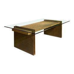 Chapa Metal Base Dining Table - Dining table made with large planks of textured reclaimed wood, combined with a steel base in weathered metal finish and glass top. Salvaged wood types include Peroba, Vinhatico, Tamburiuva, Jatoba, and Mango.