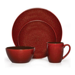Gourmet Basics by Mikasa - Mikasa Gourmet Basics Lumina Red 16 Piece Dinnerware Set - 5143215 - Shop for Sets from Hayneedle.com! The Mikasa Gourmet Basics Lumina Red 16 Piece Dinnerware Set is a boldly colored set for contemporary dining tables. Its high-quality stoneware is durable and safe for dishwasher and microwave. The speckled red coloring is paired with appealing coupe shapes for casual dining. This quality set comes with 16 pieces which includes four settings with dinner plates salad plates soup bowls and mugs.About MikasaFounded in Hiroshima Japan in 1915 Mikasa believes that every sport starts with the ball. The company makes quality volleyball basketball soccer football water polo rugby tetherball kickball dodge ball and playground balls. Mikasa understands the passion and inspiration it takes to be an athlete and they put that same passion and inspiration coupled with the best technology into every ball they make. Every morning practice every ounce of sweat spilled defines who you are as an athlete ... At Mikasa every ball that rolls off the production line defines the company - and each ball is as close to perfection as possible. It's the only way they know how to make a ball you're going to play with.