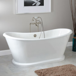 """66"""" Durham Bateau Cast Iron Skirted Tub - De-stress in the timeless Durham Cast Iron Bateau Tub, which features an elegant roll top and is surrounded by a dramatic skirt."""