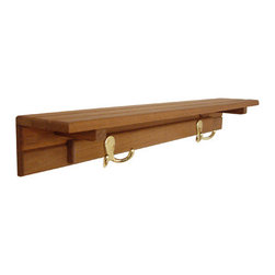 "Teakworks4u - Teak Shelf with Two Hooks (24"" x 4""D) - This multi-purpose shelf with hooks is as at home by the front door as it is in the bath. The brass hooks and oiled teak shelf will hold everything you can throw at it - from towels to robes to coats to gloves and more."