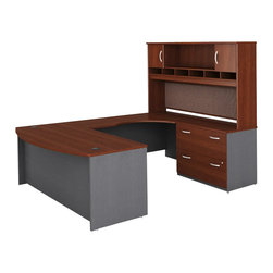 BBF - Bush Series C 4-Piece U-Shape RH Computer Desk in Hansen Cherry - Bush - Office Sets - WC24446PKG2 - Bush Series C 2 Drawer Lateral Wood File Cabinet in Hansen Cherry (included quantity: 1) Safe, secure and generous, the Bush Series C Two Drawer Lateral File Cabinet features a hefty size and a simple, neutral style. This luxury lateral filing cabinet is a bold and efficient addition to any executive suite. Features: